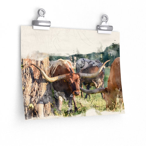 Longhorn Group Watercolor Print