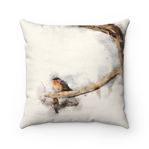 Blue and Orange Bird Watercolor Pillow