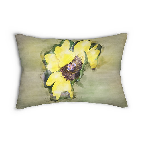 "Honeybee and the Yellow Flower Watercolor 14"" x 20"" Pillow"