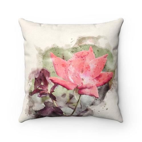 Rose Watercolor Pillow