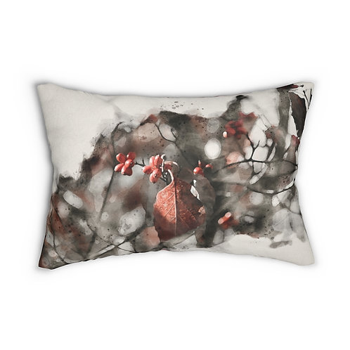 """Berries and Leaves Watercolor 14"""" x 20"""" Pillow"""