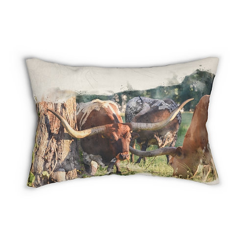 "Longhorn Group Watercolor 14"" x 20"" Pillow"