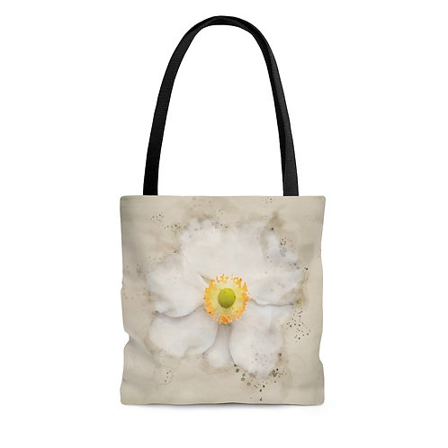 White Flower Watercolor Tote Bag