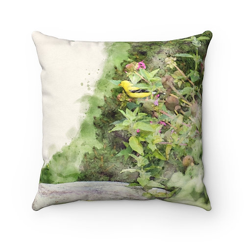 Goldfinch in the Garden Watercolor Pillow
