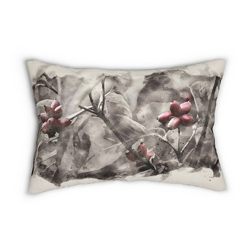 "Three Berries in the Tree Watercolor 14"" x 20"" Pillow"