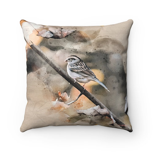 House Sparrow Watercolor Pillow
