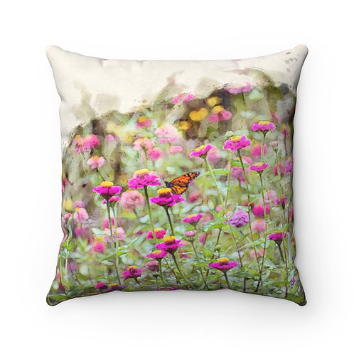 Wildflowers and Butterfly Watercolor Pillow