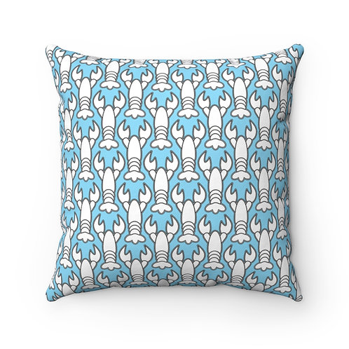 Black and White Lobster Pattern Pillow