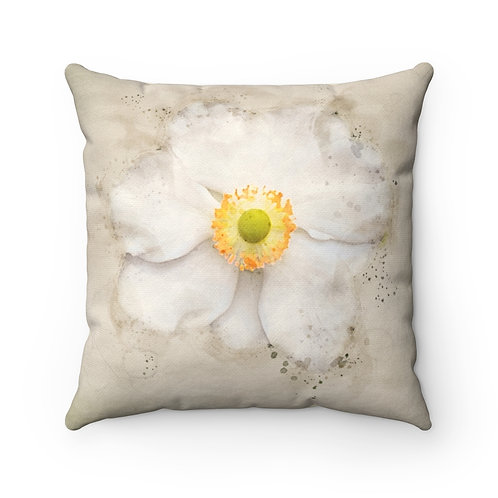 White Flower Watercolor Pillow