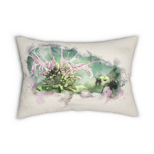 """Bumblebee and Flower Watercolor 14"""" x 20"""" Pillow"""