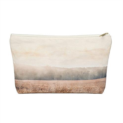 Landscape over Wheat Watercolor Accessory Pouch w T-bottom