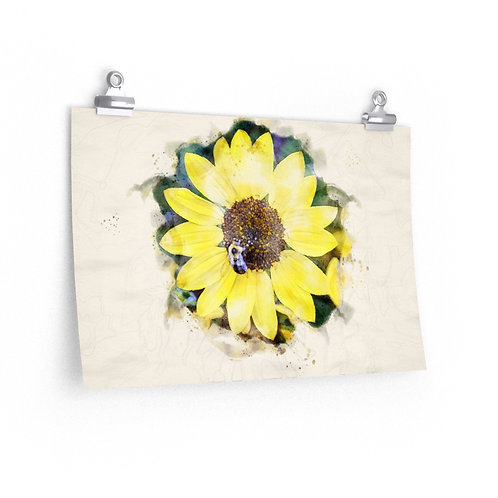 Sunflower and Bumblebee Watercolor Print