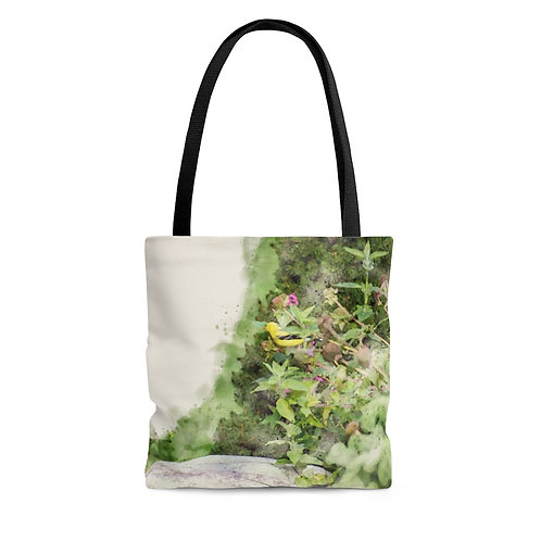 Goldfinch in the Garden Watercolor Tote Bag