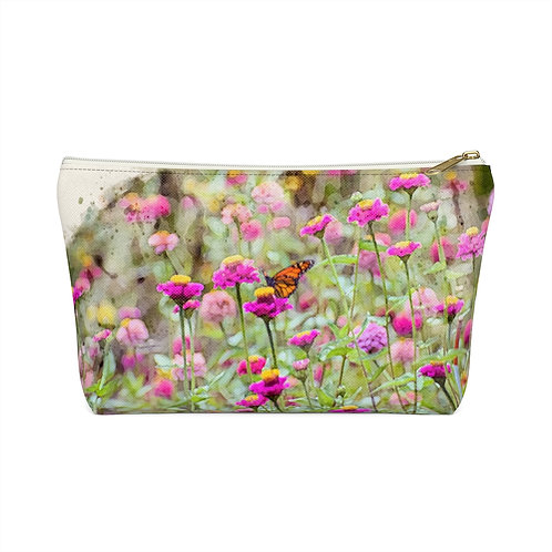 Wildflowers and Butterfly Watercolor Accessory Pouch w T-bottom