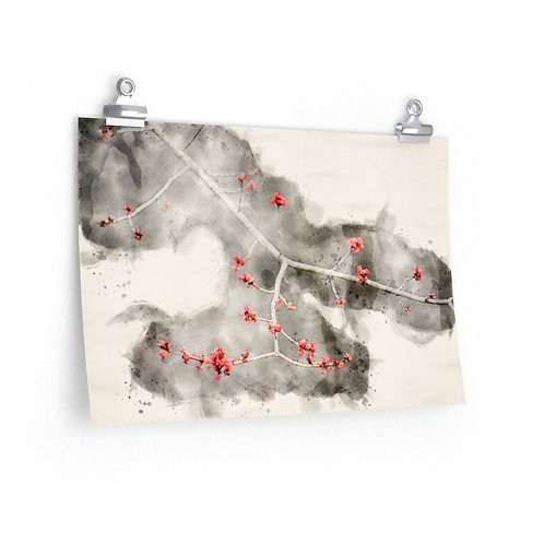 Small Red Leaves Watercolor Print