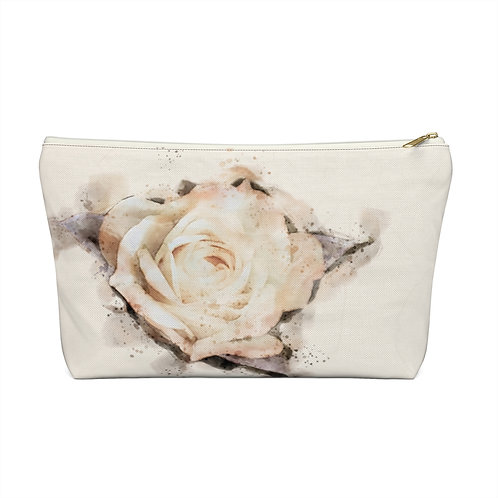 Yellow Rose Watercolor Accessory Pouch w T-bottom