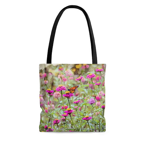 Wildflowers and Butterfly Watercolor Tote Bag