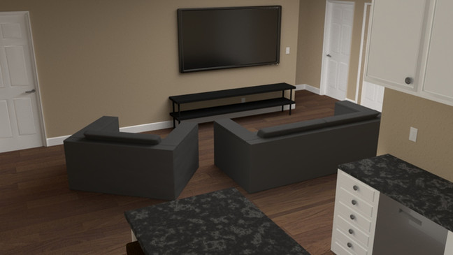 Created in Maya. Rendering done in Arnold Renderer. Modeled cabinets, doors, TV. Textured all.