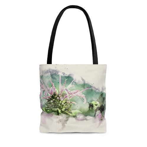 Bee and Flower Watercolor Tote Bag