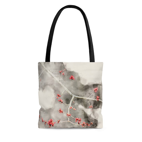 Small Red Leaves Watercolor Tote Bag