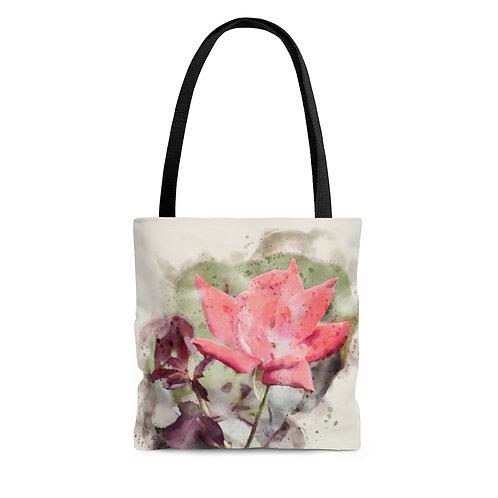 Red Rose Watercolor Tote Bag