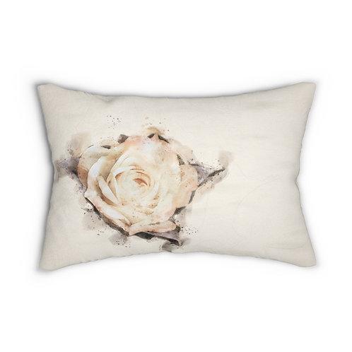 "Yellow Rose Watercolor 14"" x 20"" Pillow"