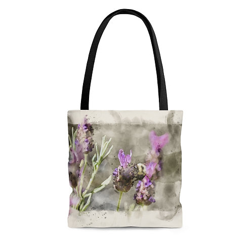 Bee and Lavender Watercolor Tote Bag