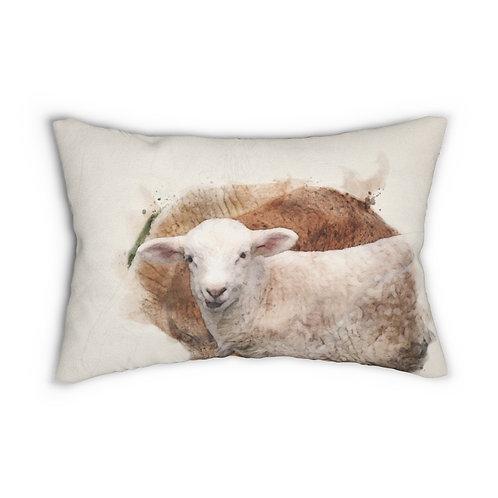 "Lamb Watercolor 14"" x 20"" Pillow"