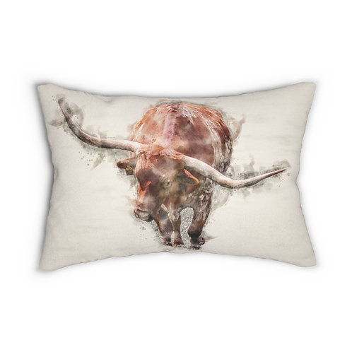 "Red Longhorn Watercolor 14"" x 20"" Pillow"