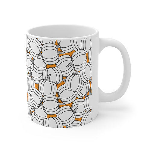 Black and White Pumpkin Pattern Ceramic Mug 11oz