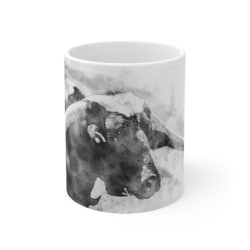 Black and White Cow Watercolor Ceramic Mug 11oz