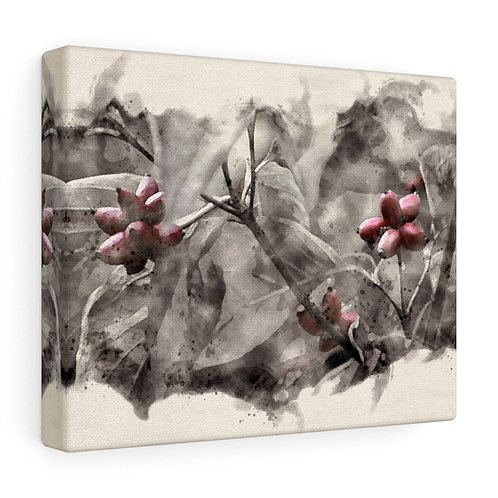Three Berries in the Tree Watercolor Canvas