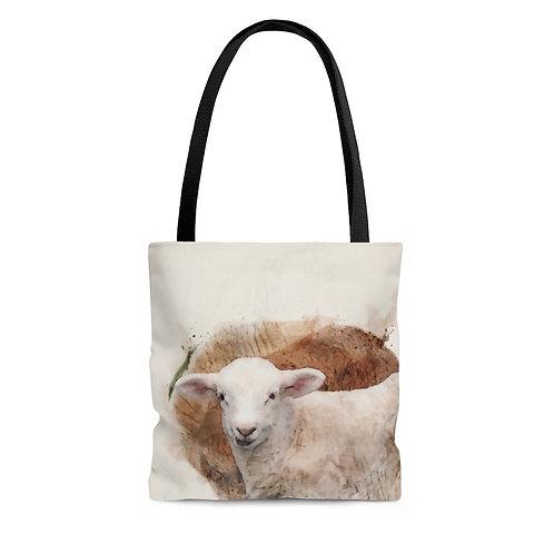 Lamb Watercolor Tote Bag