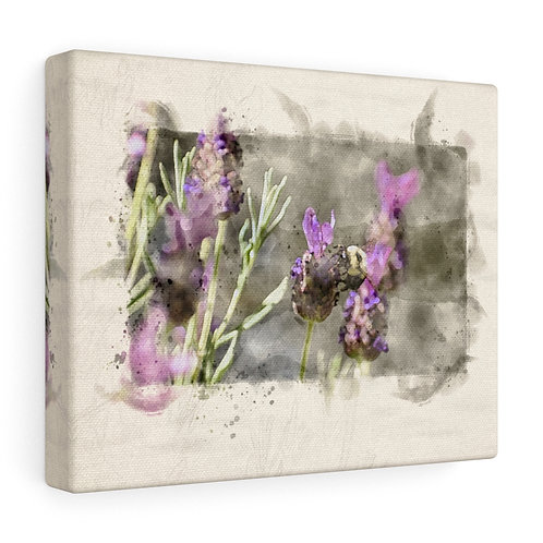 Bee and Lavendar Watercolor Canvas