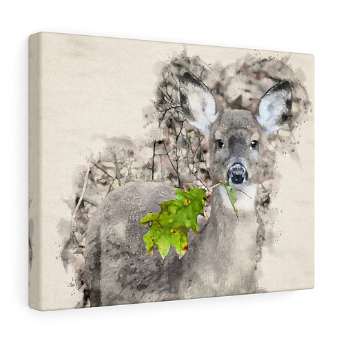 Deer with Green Leaf Watercolor Canvas