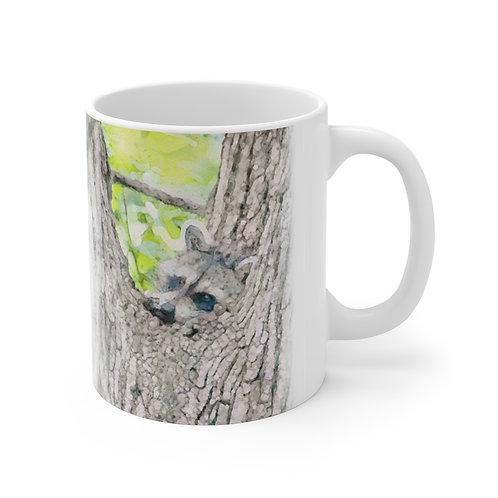 Dangling Foot Raccoon Watercolor Ceramic Mug 11oz