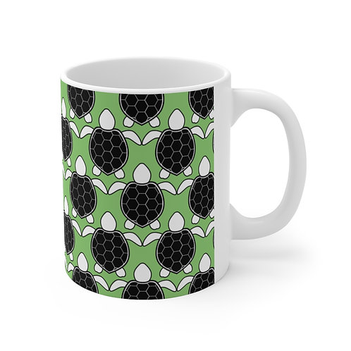 Black and White Turtle Pattern Ceramic Mug 11oz