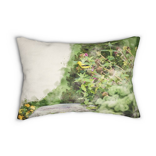"""Goldfinch in the Garden Watercolor 14"""" x 20"""" Pillow"""
