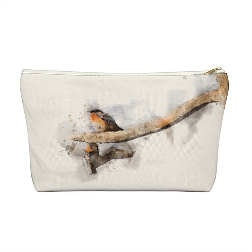 Blue and Orange Watercolor Accessory Pouch w T-bottom