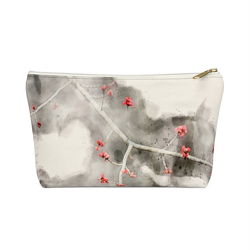 Small Red Leaves Watercolor Accessory Pouch w T-bottom