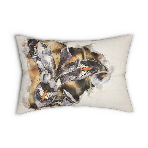 """Purple Dwarf Iris Watercolor 14"""" x 20"""" Pillow"""
