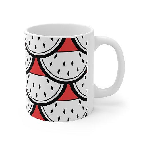 Black and White Watermelon Pattern Ceramic Mug 11oz