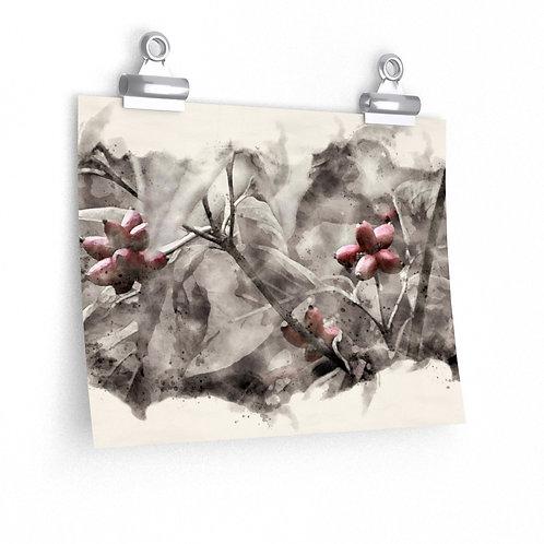 Three Berries in the Tree Watercolor Print