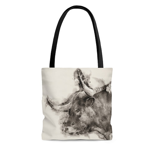 Longhorn Black and White Watercolor Tote Bag