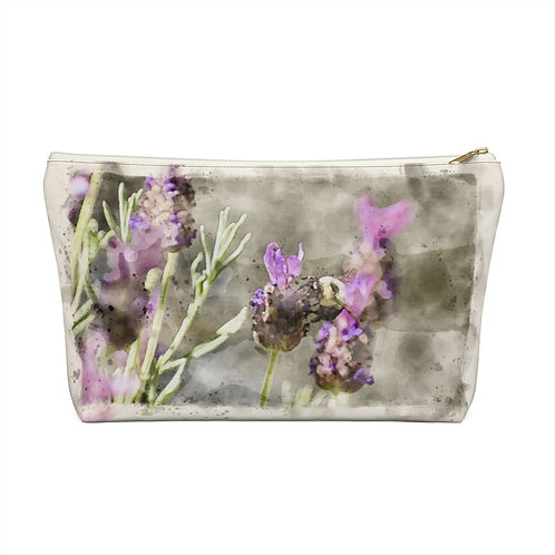 Bee and Lavender Watercolor Accessory Pouch w T-bottom