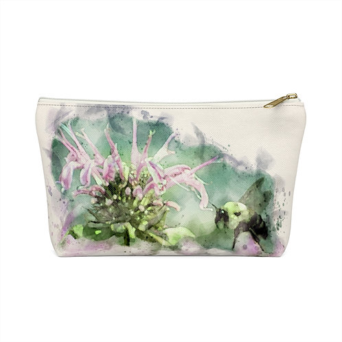 Bee and Flower Watercolor Accessory Pouch w T-bottom