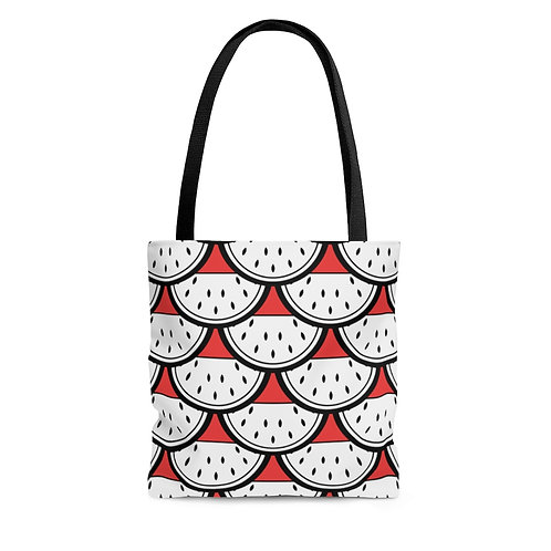 Black and White Watermelon Pattern Tote Bag
