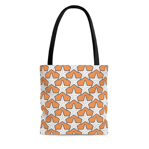 Black and White Starfish Pattern Tote Bag