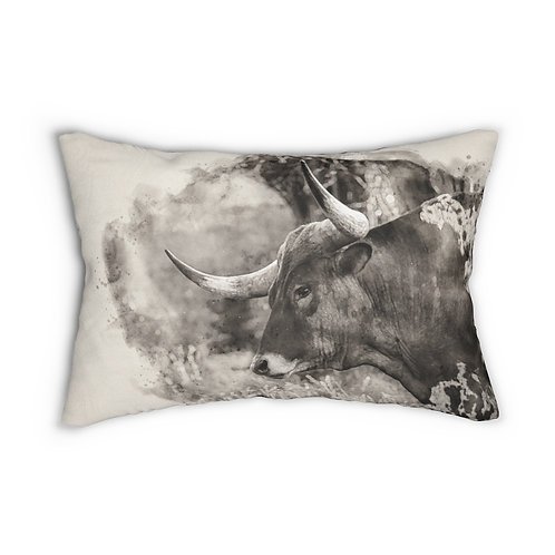 """Black and White Longhorn Watercolor 14"""" x 20"""" Pillow"""