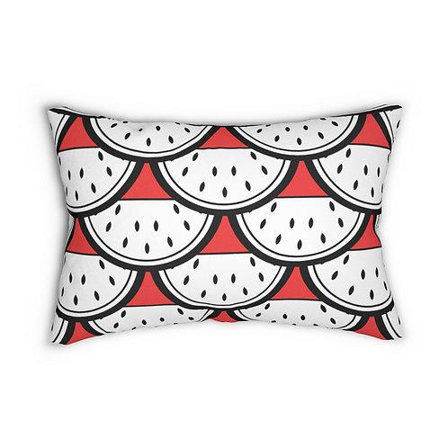"Black and White Watermelon Pattern 14"" x 20"" Pillow"